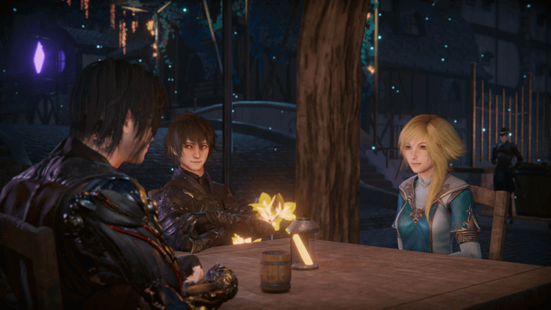 Edge of Eternity JRPG turn-based RPG conversation at a table