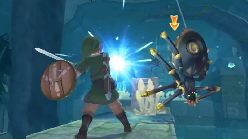 Skyward Sword HD Spiders hanging from above