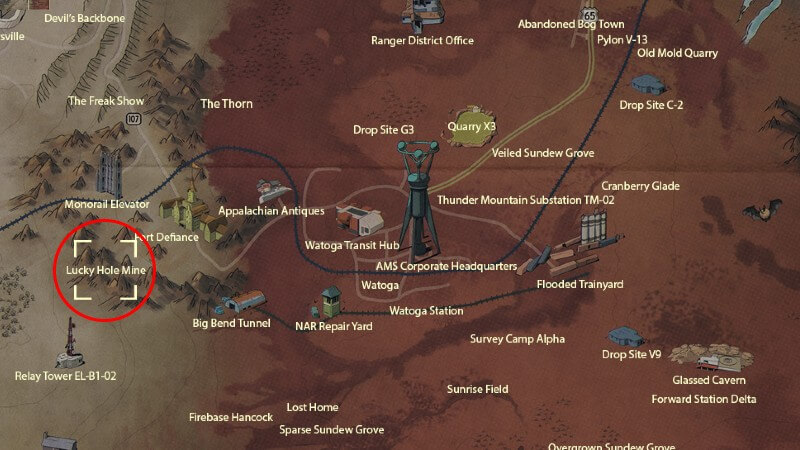 Fallout 76 lucky hole mine cultist location map