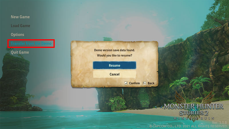 Monster Hunter Stories how to transfer demo save